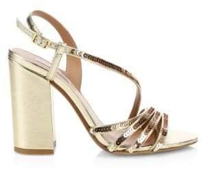 Tabitha Simmons Viola Metallic Block-Heel Sandals