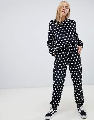 Daisy Street relaxed sweatpants in faux fur polka dot two-piece
