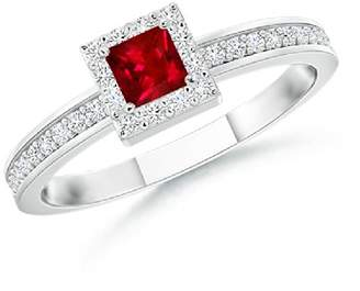 Angara.com Square Ruby Stackable Ring with Diamond Halo in 14K White Gold (3mm Ruby)