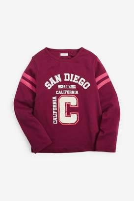 Next Girls Burgundy Boucle Print Long Sleeve T-Shirt (3-16yrs) - Red