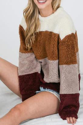 Raw Edge Faux-Fur Colorblock Sweatshirt