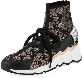 Pierre Hardy Comet Trek-Up Metallic Floral Jacquard Sneakers