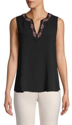 Vince Camuto Embroidered Sleeveless Top
