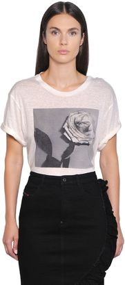 Rose Printed Linen Blend T-Shirt $78 thestylecure.com