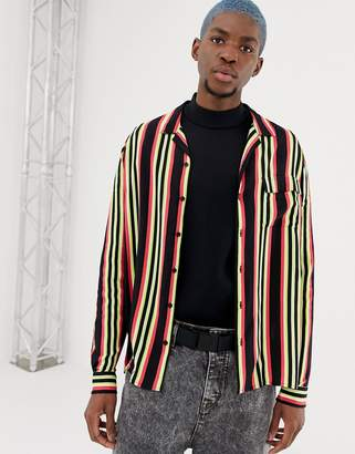 Collusion COLLUSION long sleeve shirt with revere collar in stripe