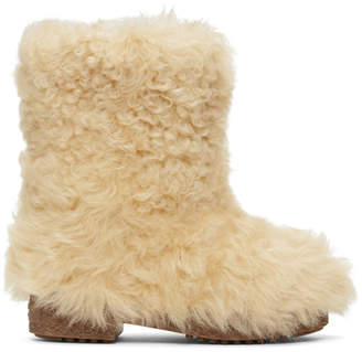 Saint Laurent White Furry Snow Boots