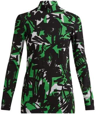 Burberry Graffiti Print High Neck Top - Womens - Green Multi