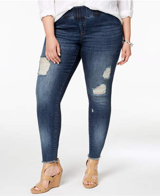INC International Concepts I.n.c. Plus Size Cotton Ripped Skinny Jeans, Created for Macy's