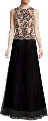 Aidan Mattox Embroidered Lace Two-Tone Dress