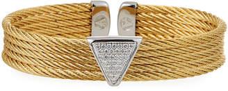 Alor Multi-Row Bangle w\/ Diamond Pave Triangle Golden