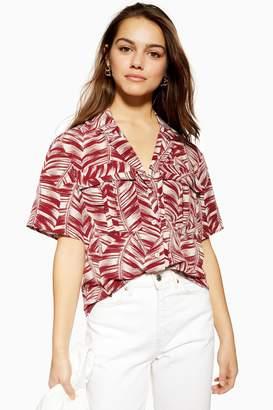 Topshop Womens Petite Palm Print Bowler Shirt - Burgundy