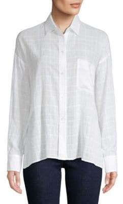 Vince Windowpane Check Button-Front Shirt