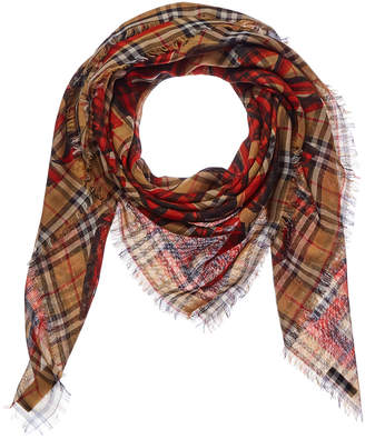 Burberry Graffiti Print Check Wool & Silk-Blend Large Square Scarf