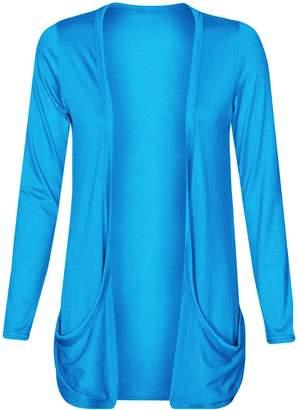 Fashion Wardrobe Womens Drop Pocket Boyfriend Open Cardigan Top Ladies Plus Size UK 16 18 20 22 24 (USA 18-20-22/UK 20-22-24 (XXL), )