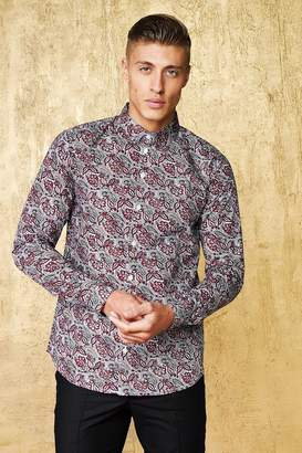 boohoo Paisley Print Long Sleeve Shirt