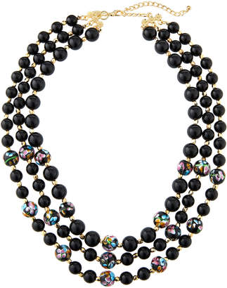 Emily and Ashley Greenbeads By Black Floral Multi-Strand Necklace