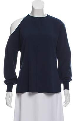 Tibi Cold-Shoulder Draped Top