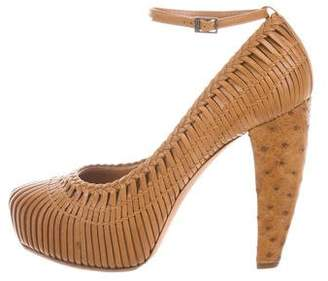 Christian Dior Ostrich-Trimmed Woven Pumps