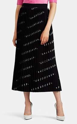 Balenciaga Women's Logo Pleated Compact Knit Midi-Skirt - Black
