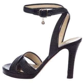 Versace Denim Ankle Strap Sandals