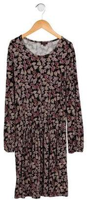 Imoga Girls' Bow Print Long Sleeve Dress