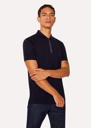 Paul Smith Men's Dark Navy Cotton-Pique 'Cycle Stripe' Zip Polo Shirt