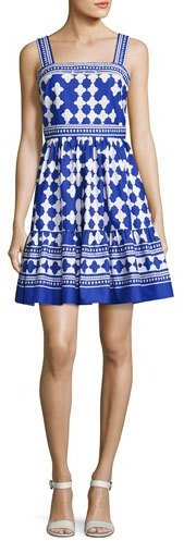 Kate Spade New York Sleeveless Quatrefoil Lantern Dress, Blue