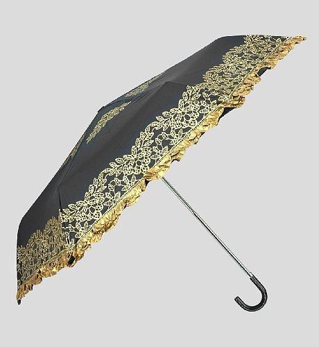 Floral Print Frill Crook Umbrella