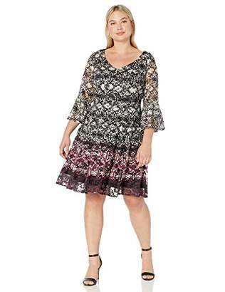Gabby Skye Women's Plus Size 3/4 Bell Sleeve V-Neck Fit and Flare Lace Dress