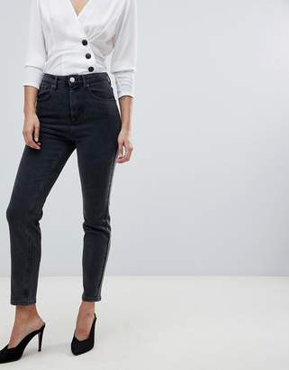 Asos Design DESIGN Farleigh high waisted slim mom jeans in washed black
