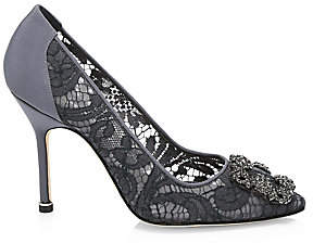 Manolo Blahnik Women's Hangisila 105 Embellished Lace Pumps