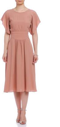 N°21 (ヌメロ ヴェントゥーノ) - N°21 ギャザーデザイン バックオープン 半袖ドレス ピンクベージュ 36