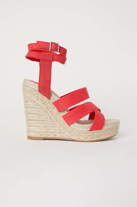 H&M Wedge-heel Platform Sandals - Red