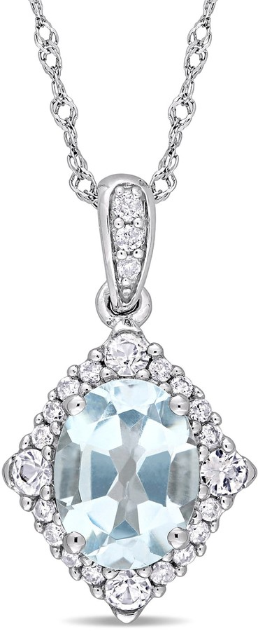 10k White Gold Blue Topaz 1/10 Carat T.W. Diamond Halo Pendant Necklace