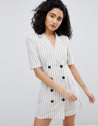 Bershka stripe blazer dress in cream