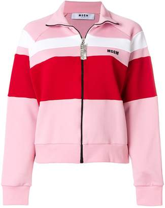 MSGM colour block zipped sweatshirt