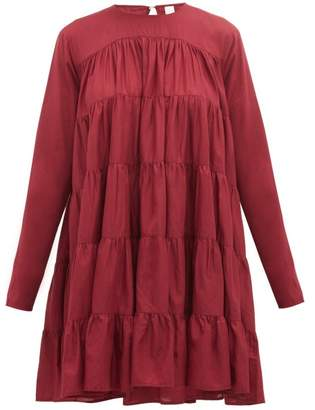 Merlette New York Soliman Tiered Cotton Mini Dress - Womens - Burgundy