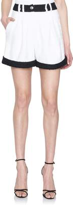 Balmain Contrasting-Tweed Highwaisted Shorts