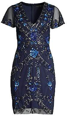 Aidan Mattox Women's Beaded V-Neck Cocktail Dress