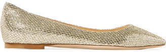 Jimmy Choo Romy Glittered Canvas Point-toe Flats - Gold