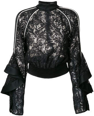 David Koma lace long-sleeve top