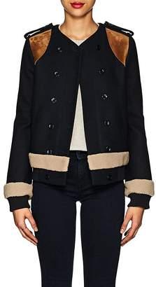 Derek Lam Women's Shearling-Trimmed Wool-Cashmere Double-Breasted Jacket