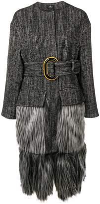 Elisabetta Franchi faux-fur trimmed coat
