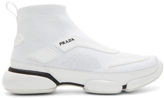 Prada White Cloudbust High-Top Sneakers