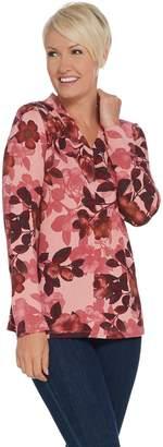Denim & Co. Printed Brushed Heavenly Jersey V-Neck Long- Sleeve Top