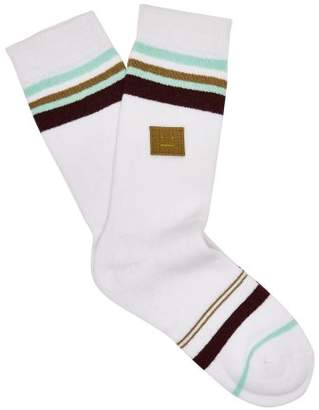 Acne Studios - Striped Cotton Blend Socks - Womens - White Multi
