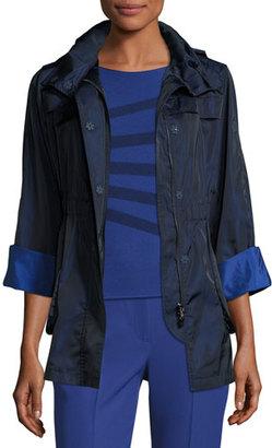 Armani Collezioni Bicolor Nylon Anorak Jacket, Navy/Blue Violet $895 thestylecure.com
