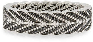 John Hardy Modern Chain Silver Large Hinged Bangle with Black Sapphire, Size S