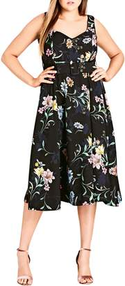City Chic Sketch Love Floral A-Line Midi Dress
