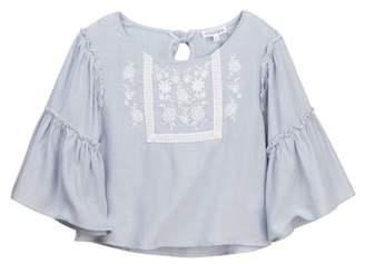 Ten Sixty Sherman Embroidered Bell Sleeve Blouse (Big Girls)